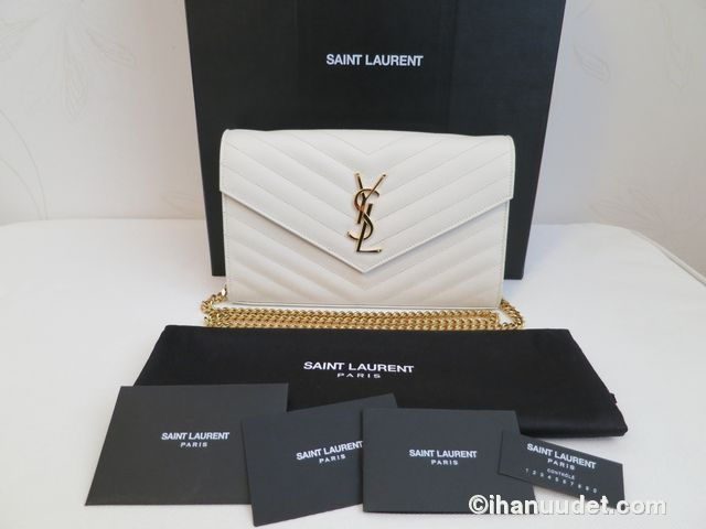 Saint Laurent Monogram Chain Wallet Cream White1.JPG
