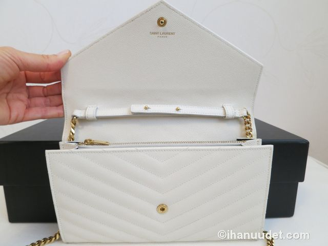 Saint Laurent Monogram Chain Wallet Cream White11.JPG