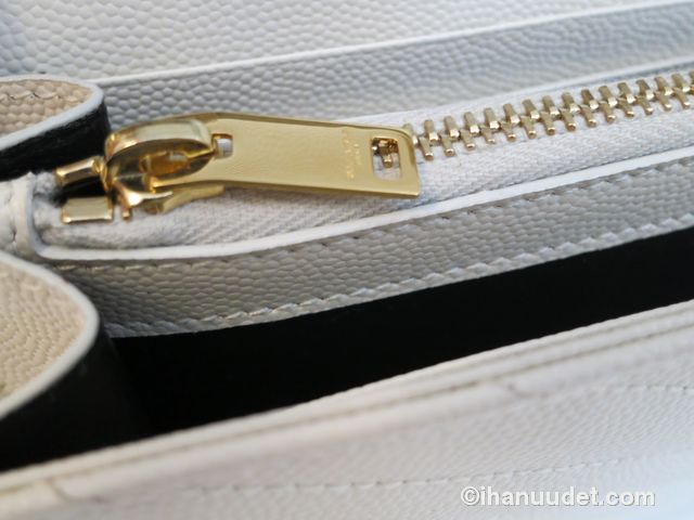 Saint Laurent Monogram Chain Wallet Cream White16.JPG