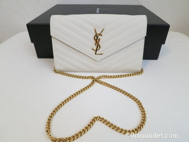 Saint Laurent Monogram Chain Wallet Cream White3.JPG