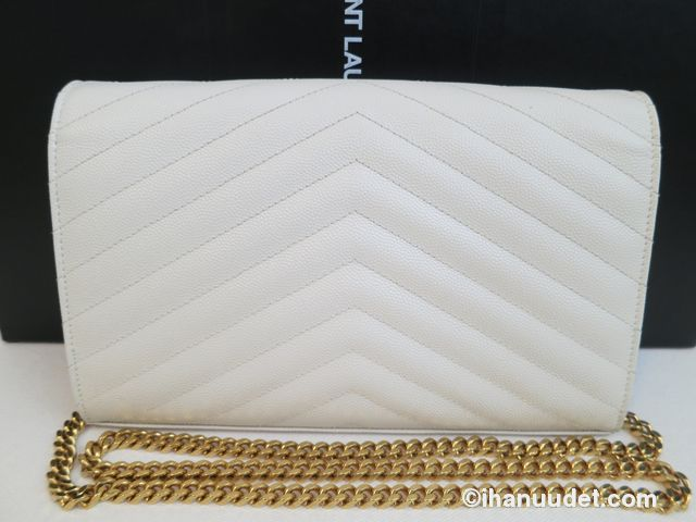 Saint Laurent Monogram Chain Wallet Cream White6.JPG